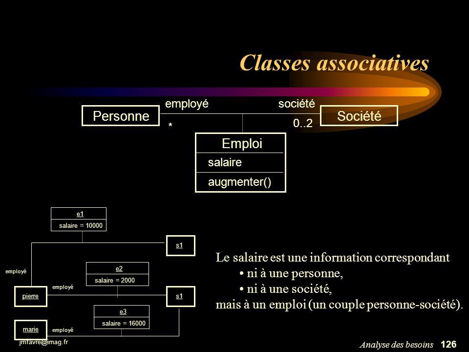 jmfavre@imag.fr 126Analyse des besoins Classes associatives PersonneSociété employé * 0..2 Emploi salaire augmenter() s1 pierre employé marie s1 emplo