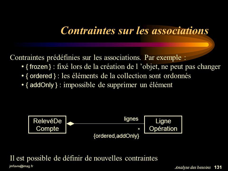 jmfavre@imag.fr 131Analyse des besoins Contraintes sur les associations Contraintes prédéfinies sur les associations. Par exemple : { frozen } : fixé