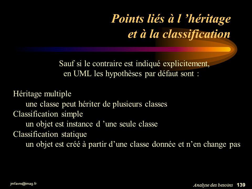 jmfavre@imag.fr 139Analyse des besoins Points liés à l héritage et à la classification Sauf si le contraire est indiqué explicitement, en UML les hypo