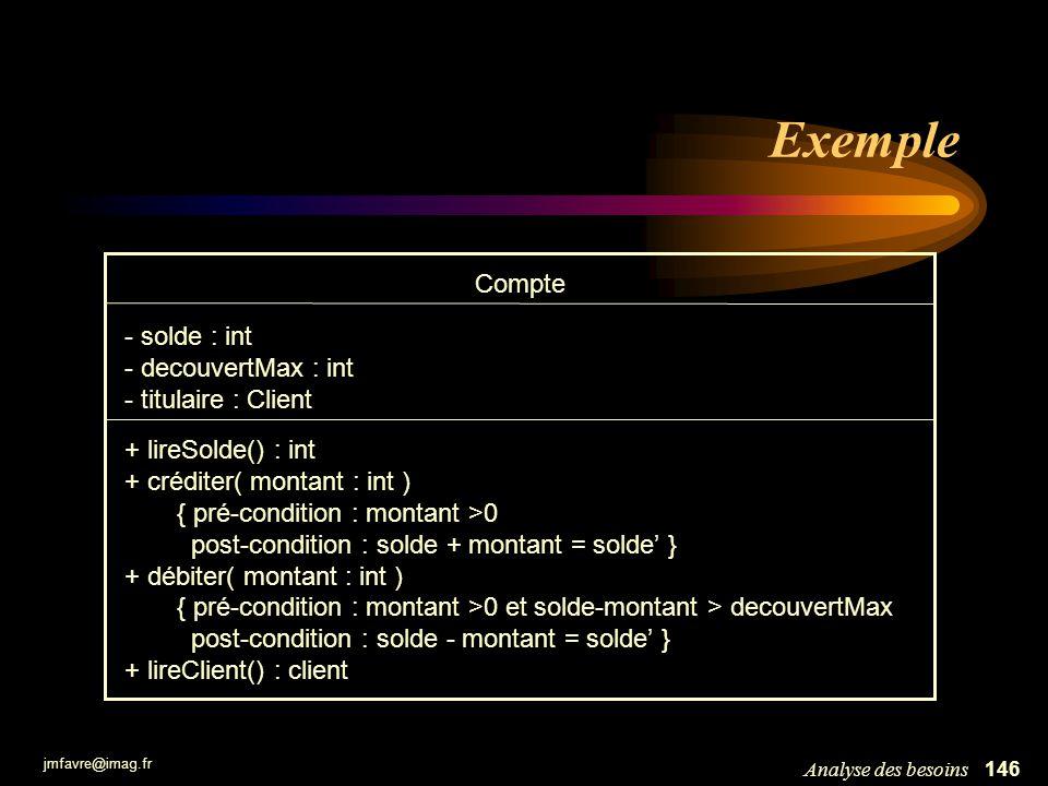 jmfavre@imag.fr 146Analyse des besoins Exemple Compte - solde : int - decouvertMax : int - titulaire : Client + lireSolde() : int + créditer( montant
