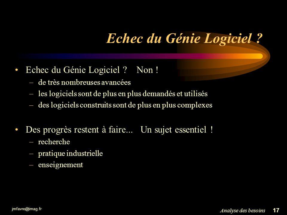 jmfavre@imag.fr 17Analyse des besoins Echec du Génie Logiciel ? Echec du Génie Logiciel ? Non ! –de très nombreuses avancées –les logiciels sont de pl
