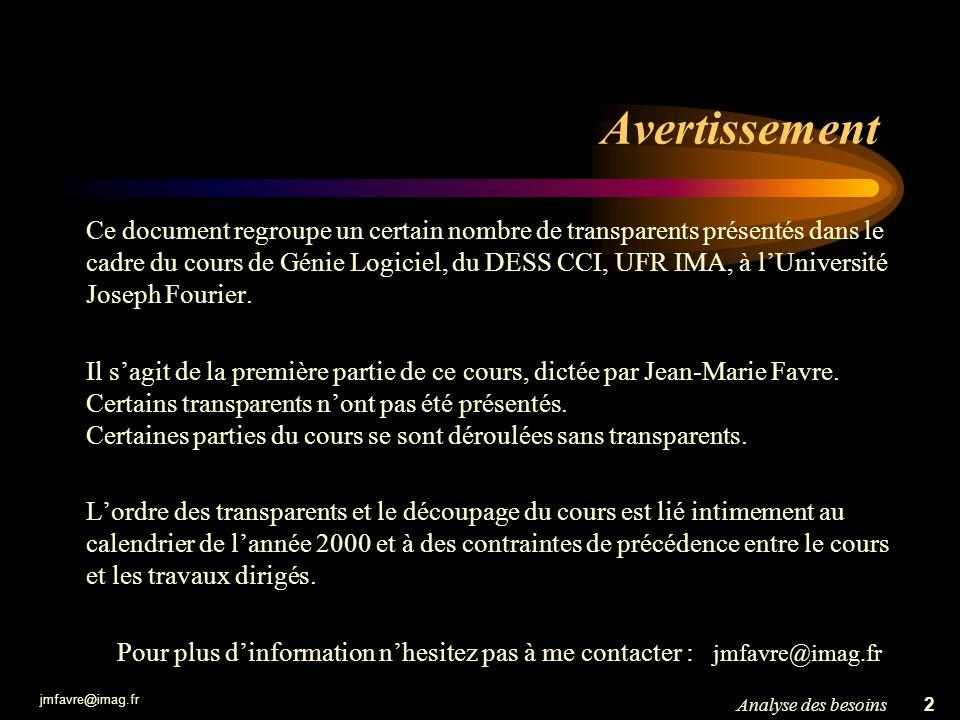 jmfavre@imag.fr 2Analyse des besoins Avertissement Ce document regroupe un certain nombre de transparents présentés dans le cadre du cours de Génie Lo