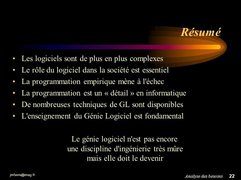 jmfavre@imag.fr 22Analyse des besoins Résumé Les logiciels sont de plus en plus complexes Le rôle du logiciel dans la société est essentiel La program