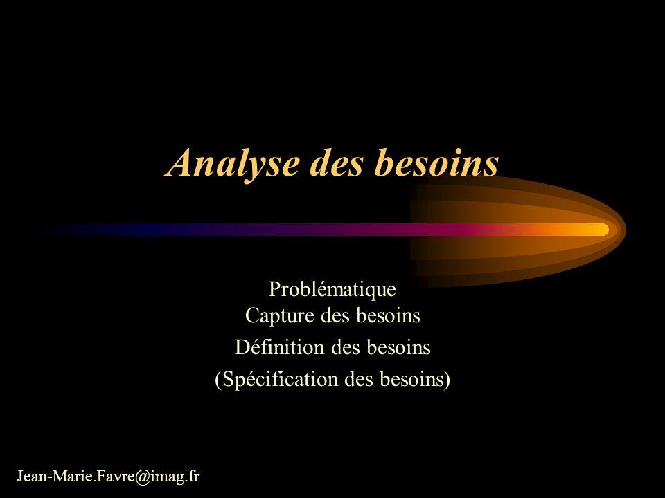 Analyse des besoins Problématique Capture des besoins Définition des besoins (Spécification des besoins) Jean-Marie.Favre@imag.fr