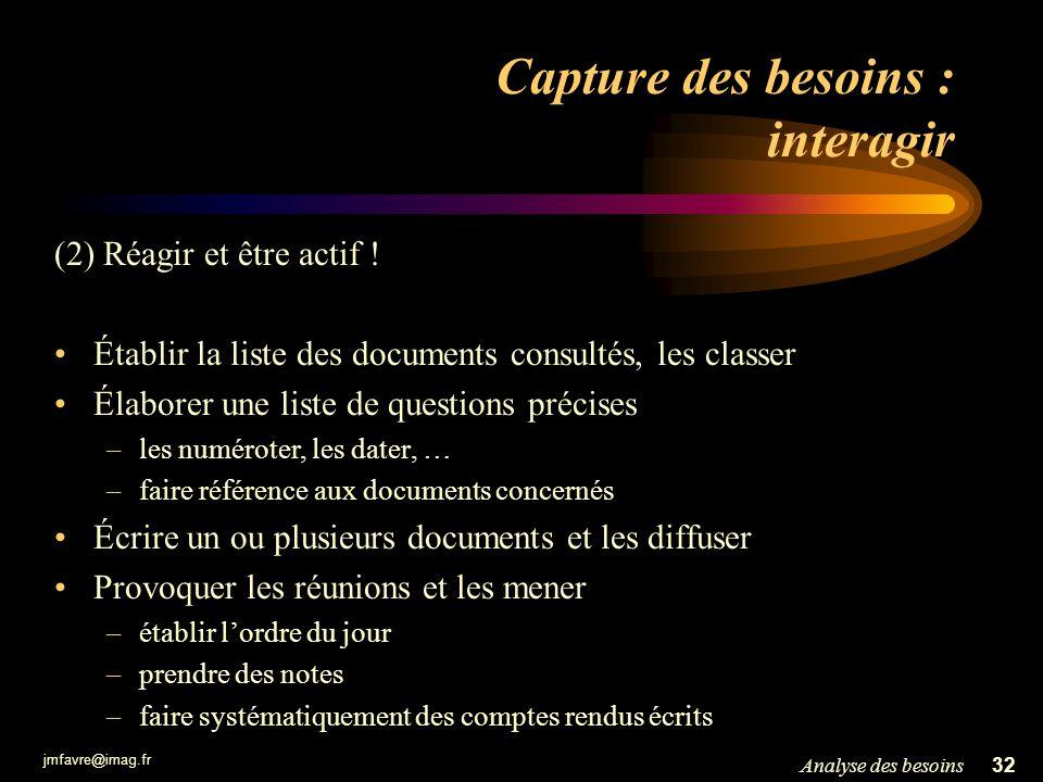 jmfavre@imag.fr 32Analyse des besoins Capture des besoins : interagir (2) Réagir et être actif ! Établir la liste des documents consultés, les classer
