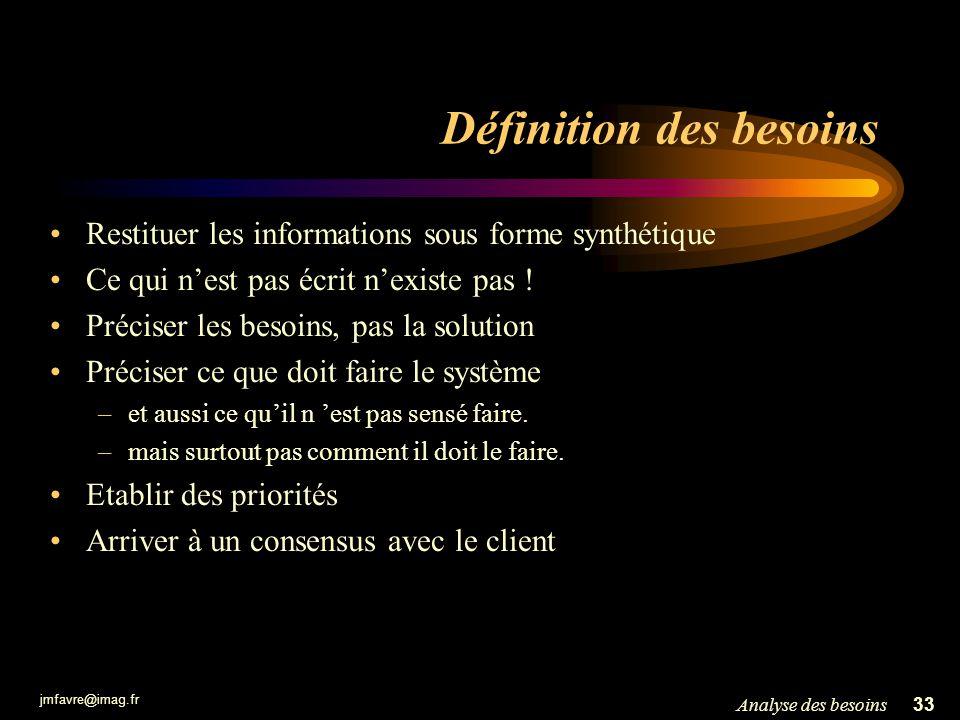 jmfavre@imag.fr 33Analyse des besoins Définition des besoins Restituer les informations sous forme synthétique Ce qui nest pas écrit nexiste pas ! Pré