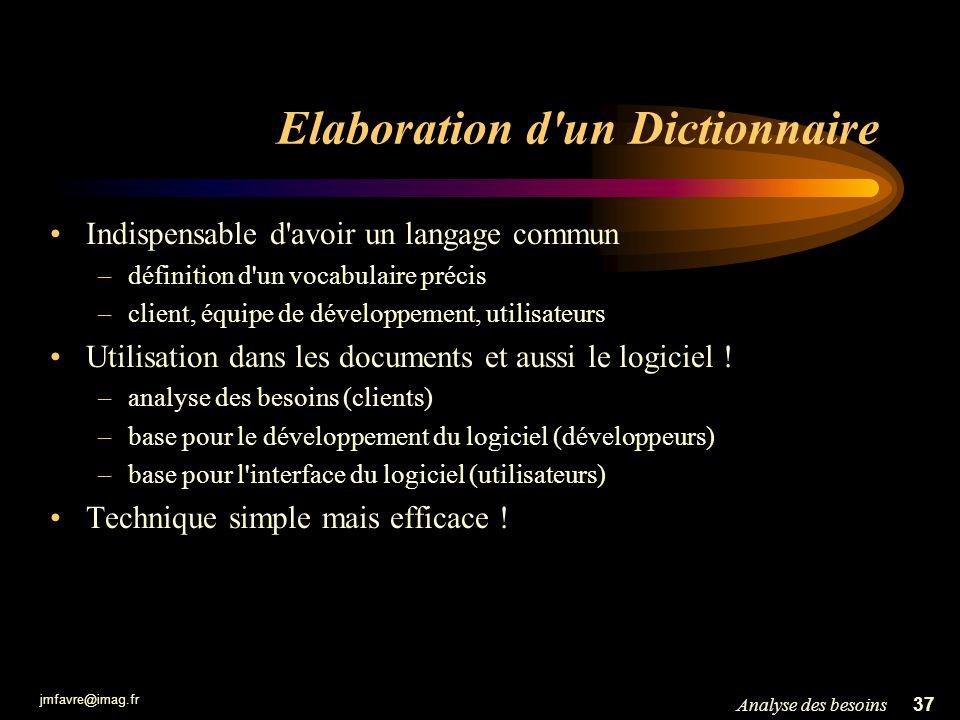 jmfavre@imag.fr 37Analyse des besoins Elaboration d'un Dictionnaire Indispensable d'avoir un langage commun –définition d'un vocabulaire précis –clien