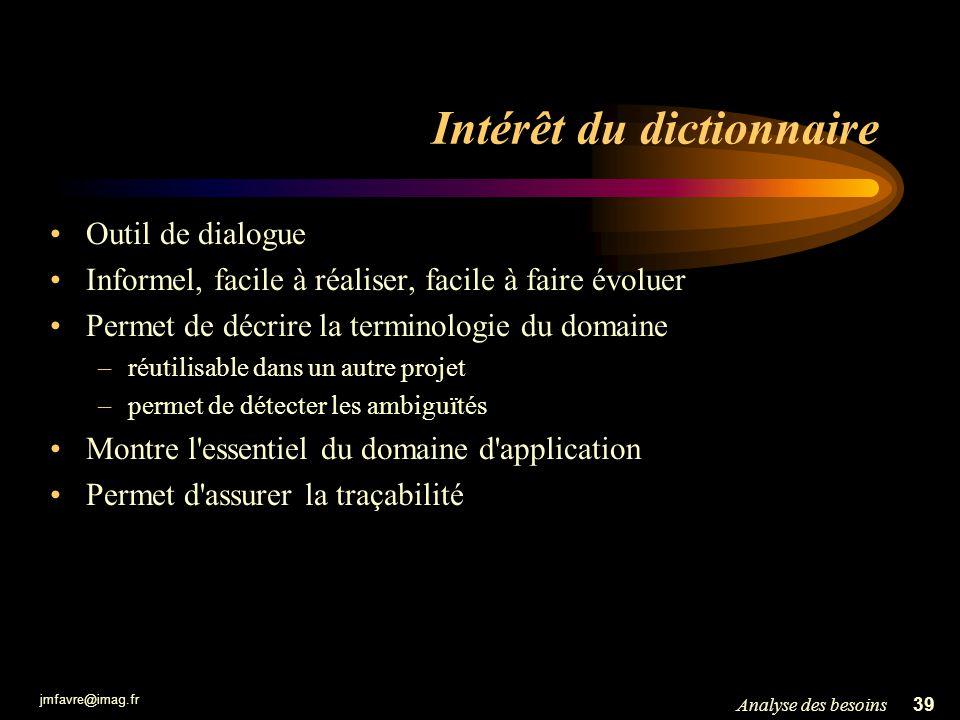 jmfavre@imag.fr 39Analyse des besoins Intérêt du dictionnaire Outil de dialogue Informel, facile à réaliser, facile à faire évoluer Permet de décrire