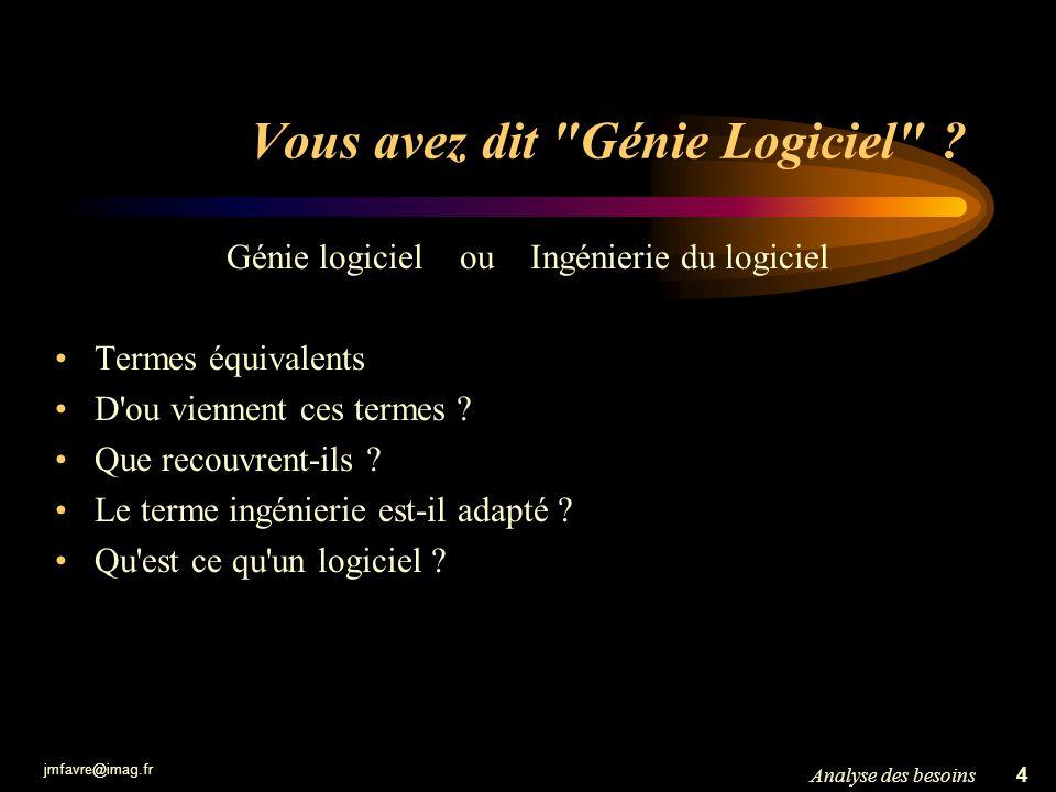 jmfavre@imag.fr 4Analyse des besoins Vous avez dit