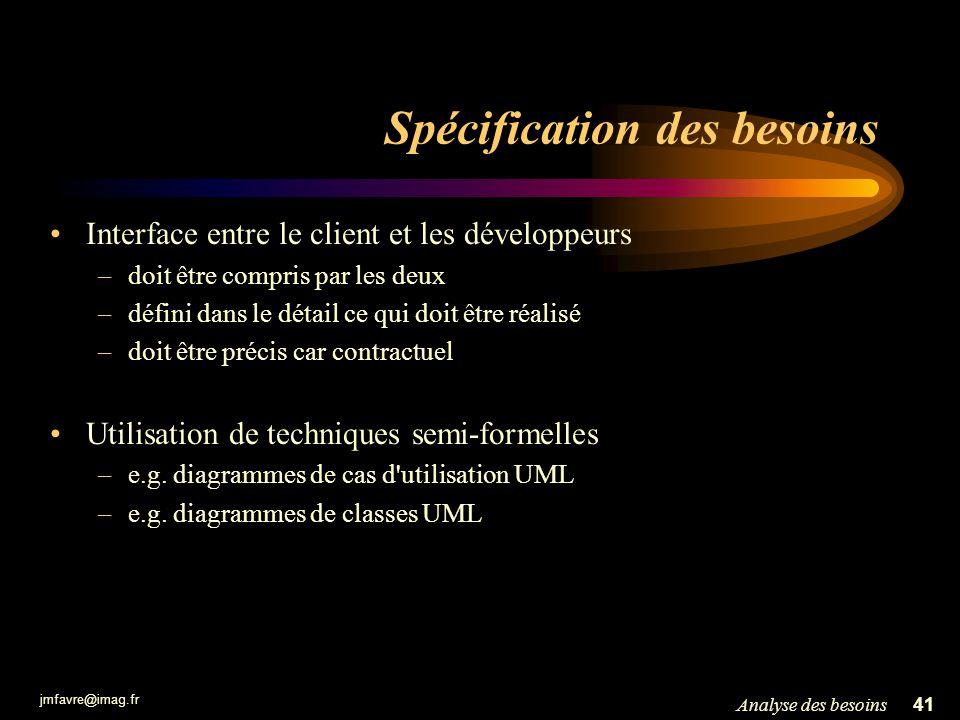 jmfavre@imag.fr 41Analyse des besoins Spécification des besoins Interface entre le client et les développeurs –doit être compris par les deux –défini