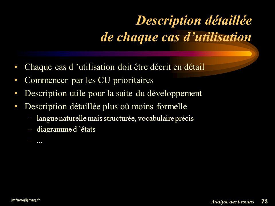 jmfavre@imag.fr 73Analyse des besoins Description détaillée de chaque cas dutilisation Chaque cas d utilisation doit être décrit en détail Commencer p