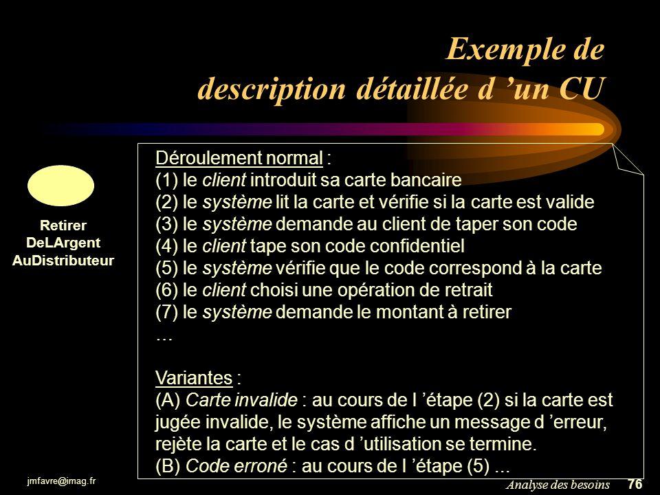 jmfavre@imag.fr 76Analyse des besoins Exemple de description détaillée d un CU Retirer DeLArgent AuDistributeur Déroulement normal : (1) le client int