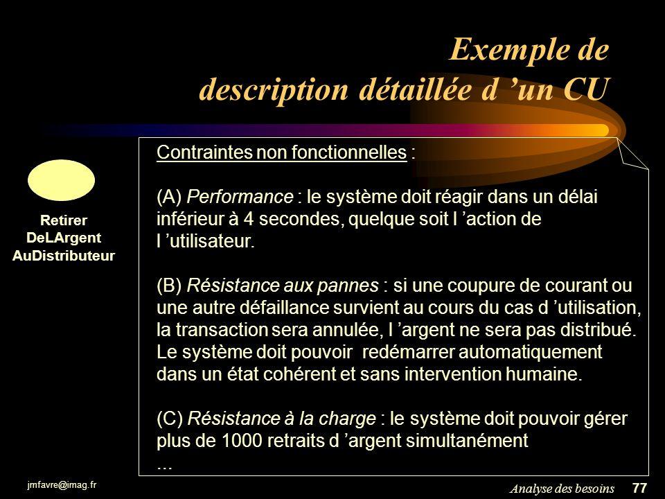 jmfavre@imag.fr 78Analyse des besoins Scénario Pour décrire ou valider un CU : les scénarios Un scénario est un exemple : –une manière particulière d utiliser le système … –… par une personne particulière … –… dans un contexte particulier.
