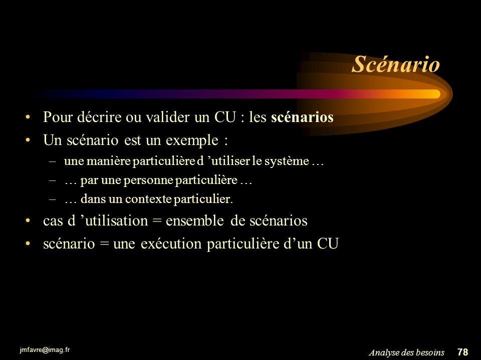jmfavre@imag.fr 78Analyse des besoins Scénario Pour décrire ou valider un CU : les scénarios Un scénario est un exemple : –une manière particulière d