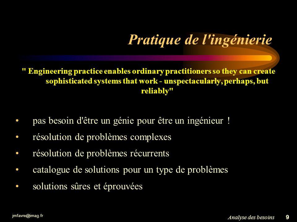 jmfavre@imag.fr 9Analyse des besoins Pratique de l'ingénierie