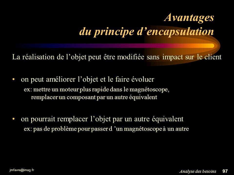 jmfavre@imag.fr 97Analyse des besoins Avantages du principe dencapsulation La réalisation de lobjet peut être modifiée sans impact sur le client on pe
