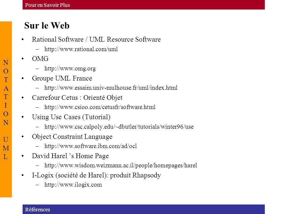 Sur le Web Références Pour en Savoir Plus NOTATION UMLNOTATION UML Rational Software / UML Resource Software –http://www.rational.com/uml OMG –http://