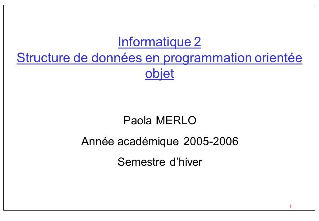 1 Informatique 2 Structure de données en programmation orientée objet Paola MERLO Année académique 2005-2006 Semestre dhiver