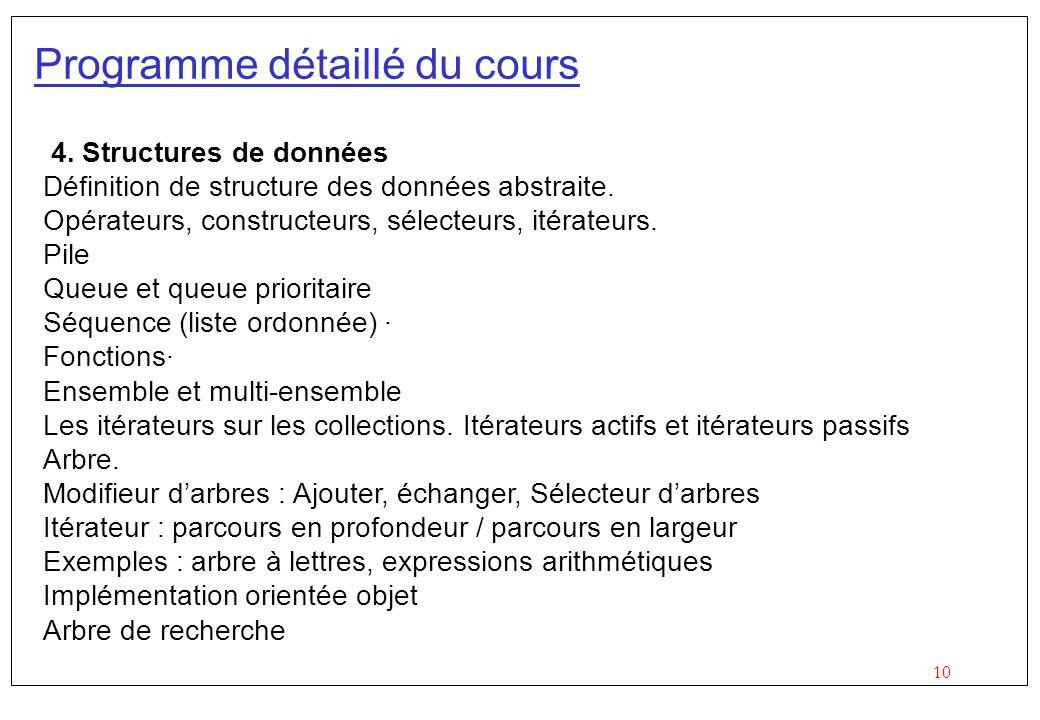 10 Programme détaillé du cours 4. Structures de données Définition de structure des données abstraite. Opérateurs, constructeurs, sélecteurs, itérateu