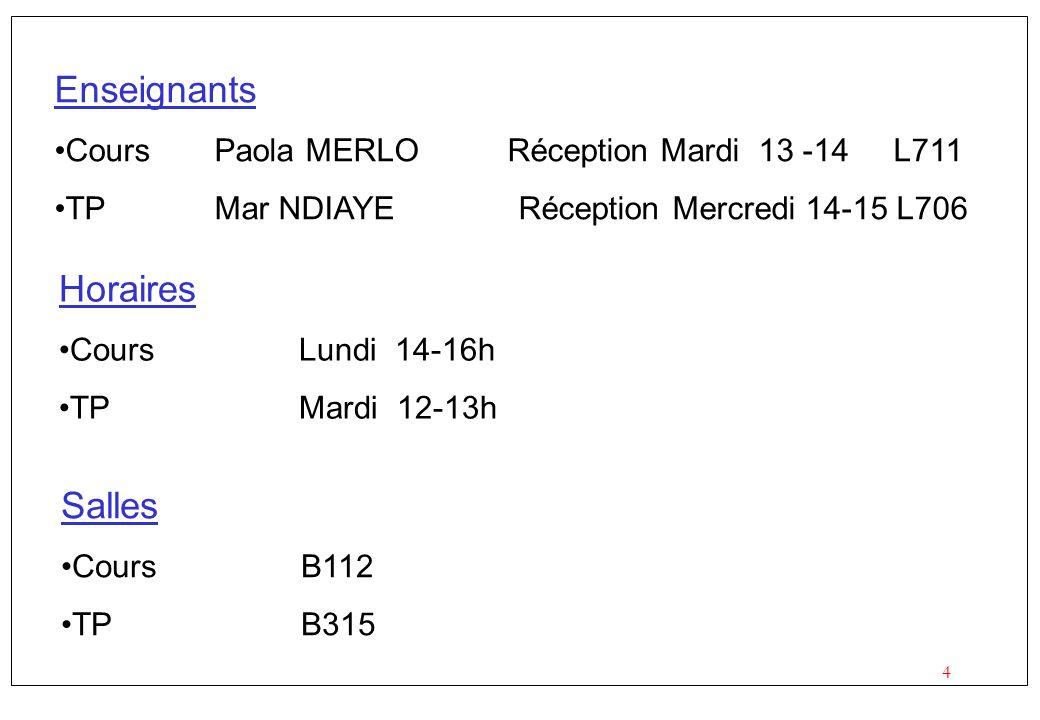4 Horaires CoursLundi 14-16h TPMardi 12-13h Enseignants CoursPaola MERLO Réception Mardi 13 -14 L711 TPMar NDIAYE Réception Mercredi 14-15 L706 Salles