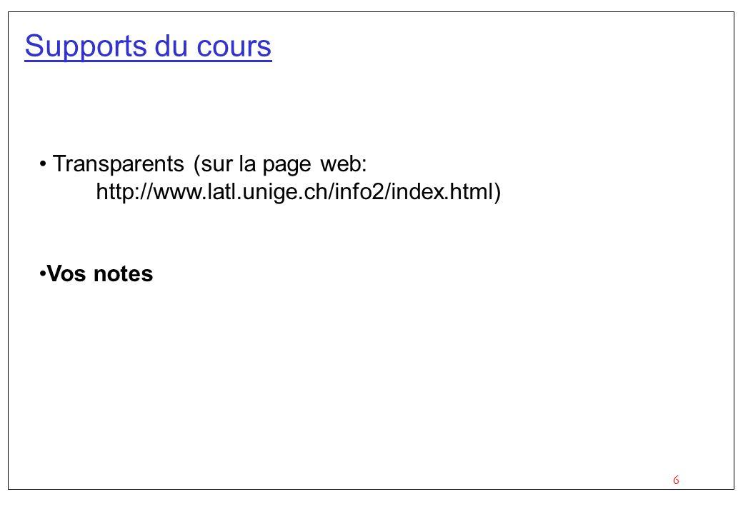 6 Supports du cours Transparents (sur la page web: http://www.latl.unige.ch/info2/index.html) Vos notes