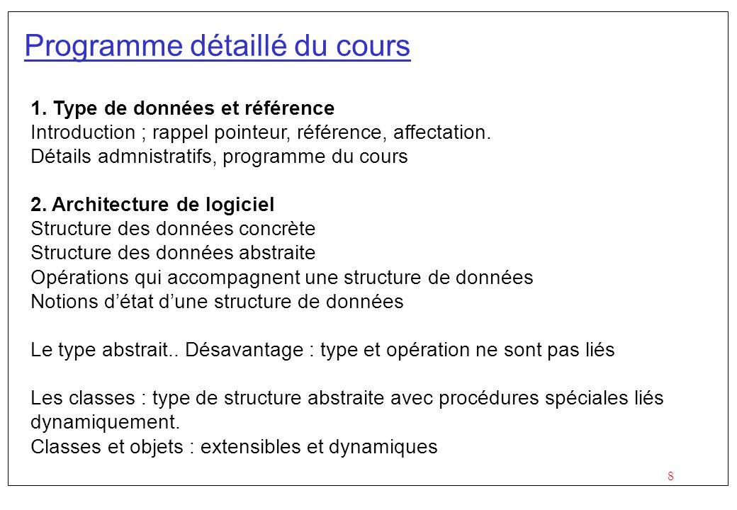 8 Programme détaillé du cours 1. Type de données et référence Introduction ; rappel pointeur, référence, affectation. Détails admnistratifs, programme