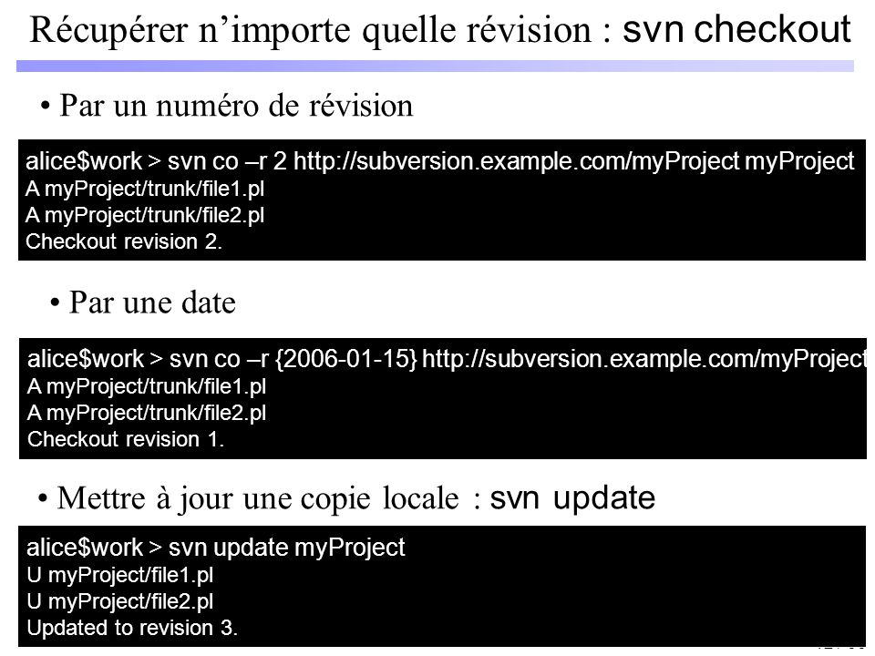 12 / 66 Récupérer nimporte quelle révision : svn checkout alice$work > svn co –r 2 http://subversion.example.com/myProject myProject A myProject/trunk/file1.pl A myProject/trunk/file2.pl Checkout revision 2.