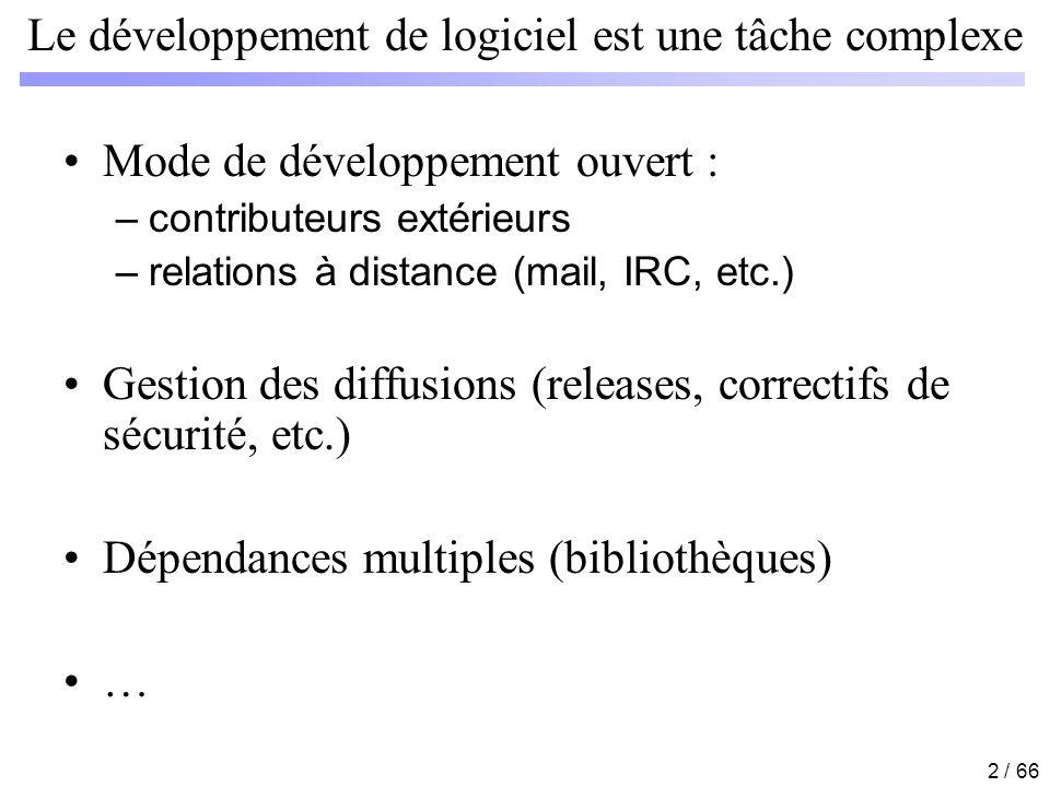 2 / 66 Le développement de logiciel est une tâche complexe Mode de développement ouvert : –contributeurs extérieurs –relations à distance (mail, IRC,