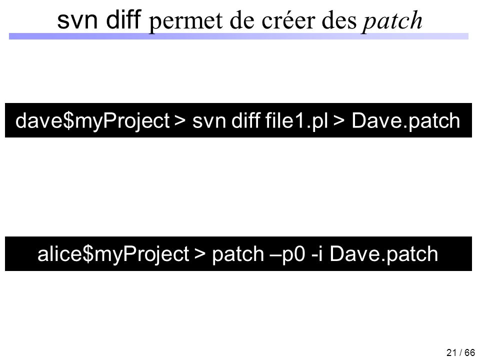 21 / 66 svn diff permet de créer des patch dave$myProject > svn diff file1.pl > Dave.patch alice$myProject > patch –p0 -i Dave.patch