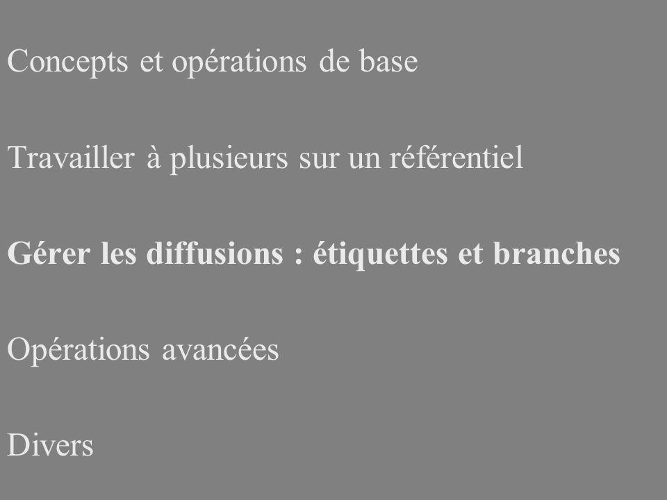 Concepts et opérations de base Travailler à plusieurs sur un référentiel Gérer les diffusions : étiquettes et branches Opérations avancées Divers