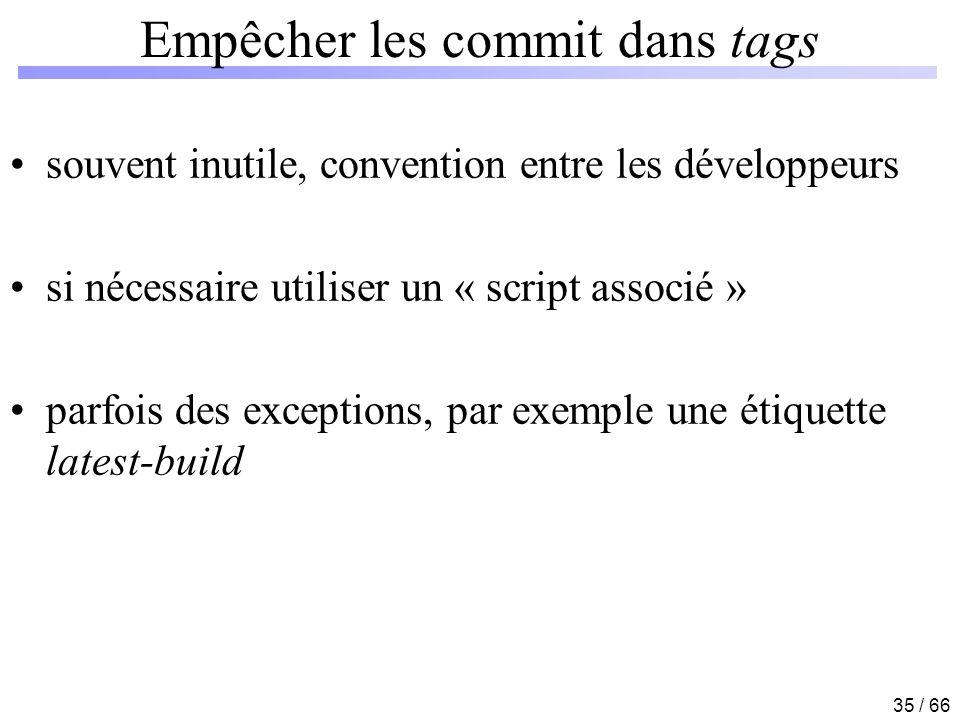 35 / 66 Empêcher les commit dans tags souvent inutile, convention entre les développeurs si nécessaire utiliser un « script associé » parfois des exce