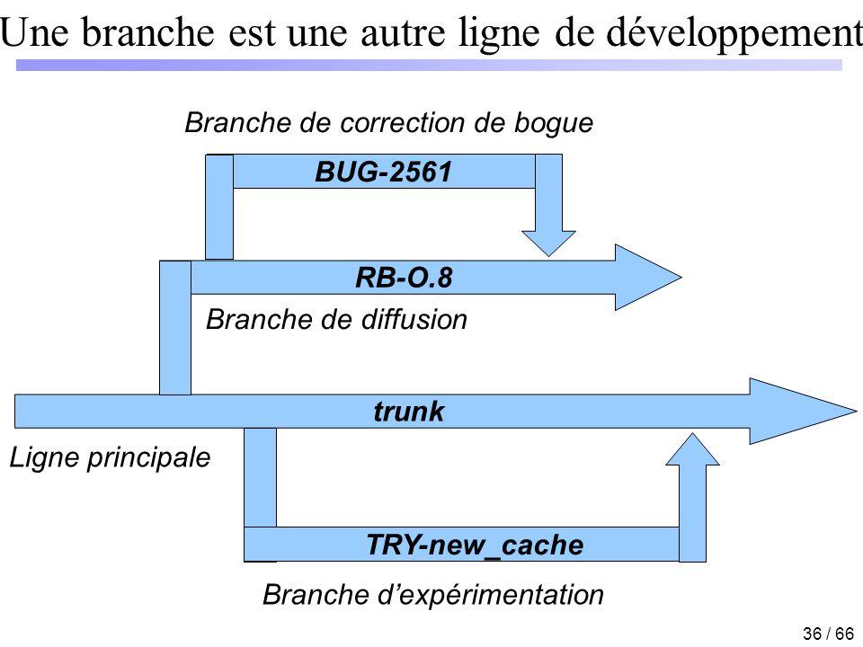 36 / 66 BUG-2561 Une branche est une autre ligne de développement trunk RB-O.8 Ligne principale Branche dexpérimentation Branche de diffusion Branche