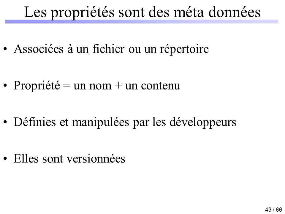 43 / 66 Les propriétés sont des méta données Associées à un fichier ou un répertoire Propriété = un nom + un contenu Définies et manipulées par les dé