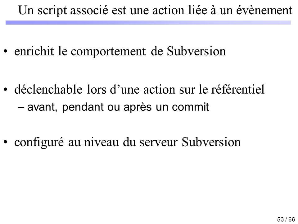 53 / 66 Un script associé est une action liée à un évènement enrichit le comportement de Subversion déclenchable lors dune action sur le référentiel –