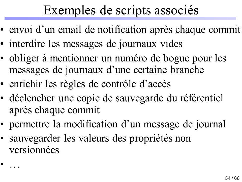 54 / 66 Exemples de scripts associés envoi dun email de notification après chaque commit interdire les messages de journaux vides obliger à mentionner