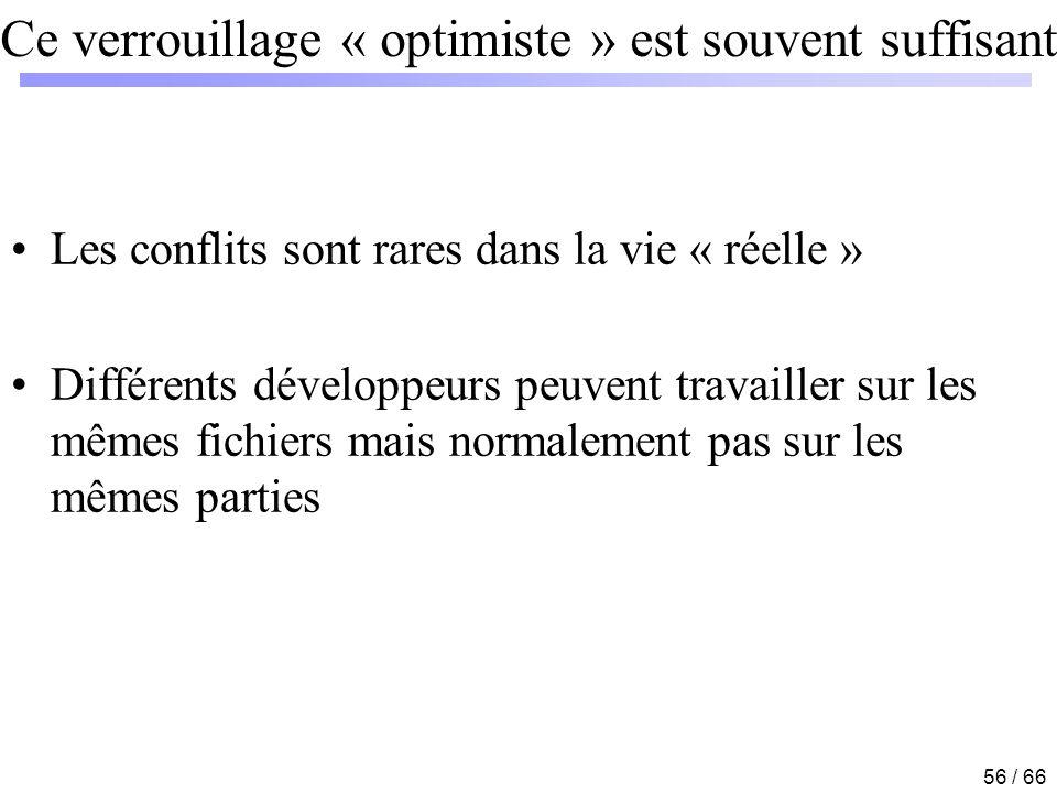 56 / 66 Ce verrouillage « optimiste » est souvent suffisant Les conflits sont rares dans la vie « réelle » Différents développeurs peuvent travailler