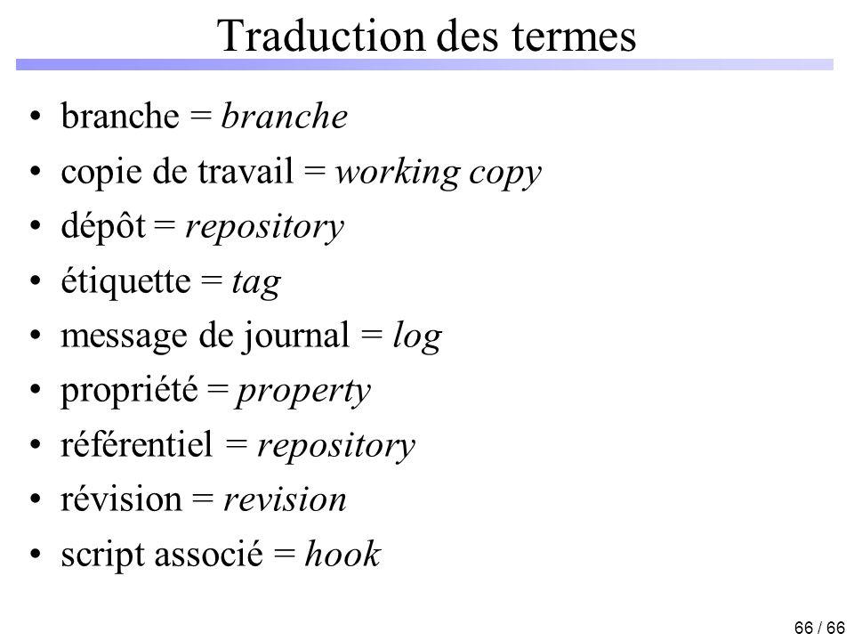66 / 66 Traduction des termes branche = branche copie de travail = working copy dépôt = repository étiquette = tag message de journal = log propriété