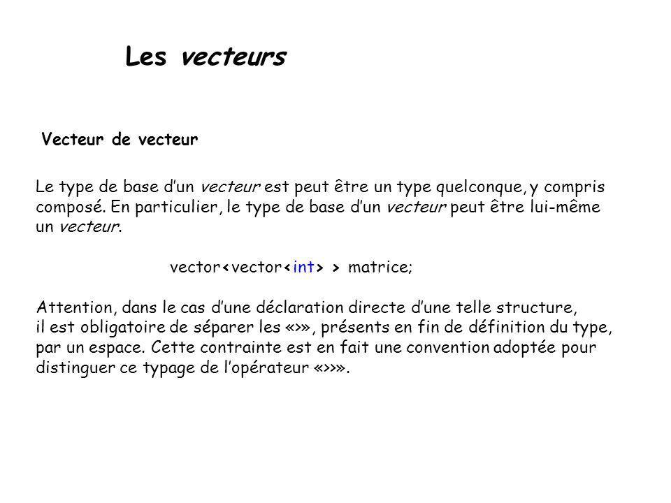 Les vecteurs Vecteur de vecteur Le type de base dun vecteur est peut être un type quelconque, y compris composé. En particulier, le type de base dun v