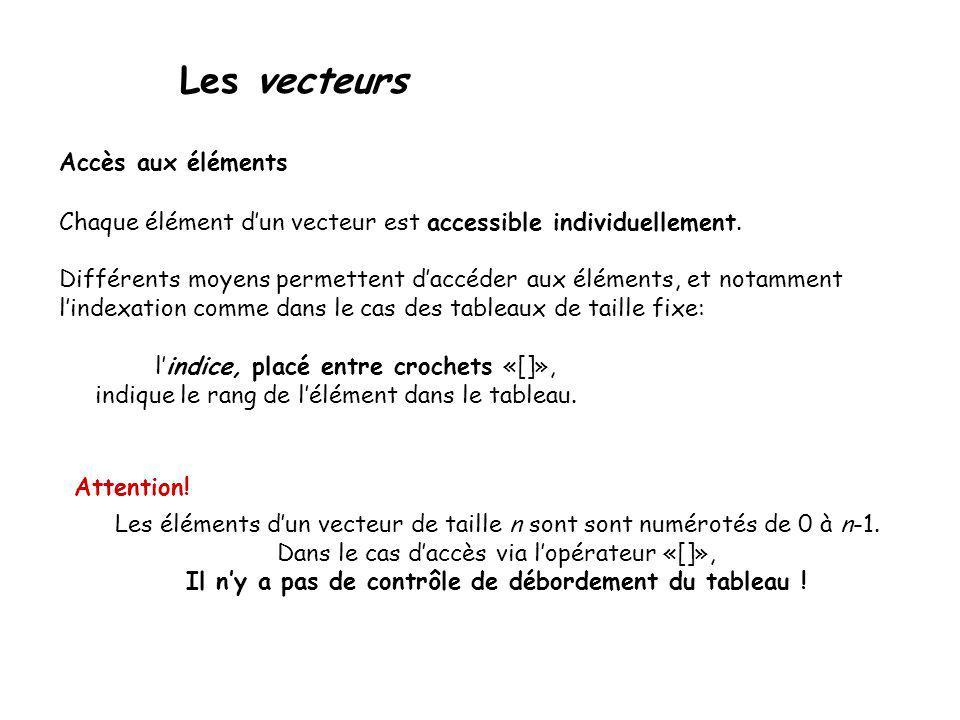 Les vecteurs Accès aux éléments Chaque élément dun vecteur est accessible individuellement. Différents moyens permettent daccéder aux éléments, et not