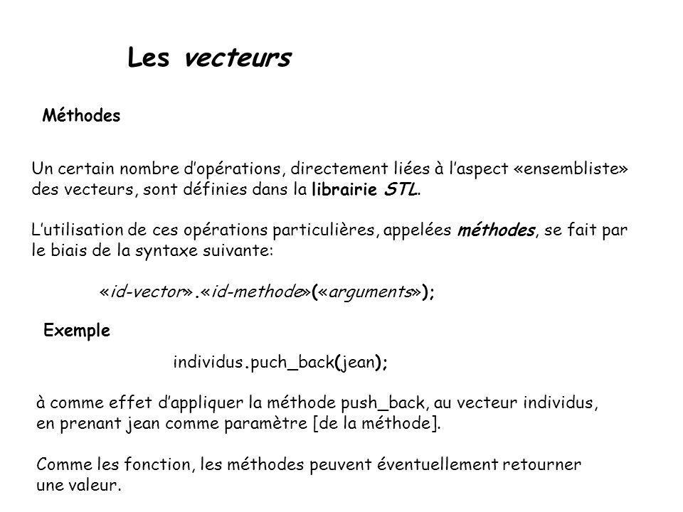 Les vecteurs Méthodes Un certain nombre dopérations, directement liées à laspect «ensembliste» des vecteurs, sont définies dans la librairie STL. Luti