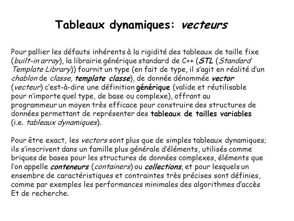 Tableaux dynamiques: vecteurs Pour pallier les défauts inhérents à la rigidité des tableaux de taille fixe (built-in array), la librairie générique st