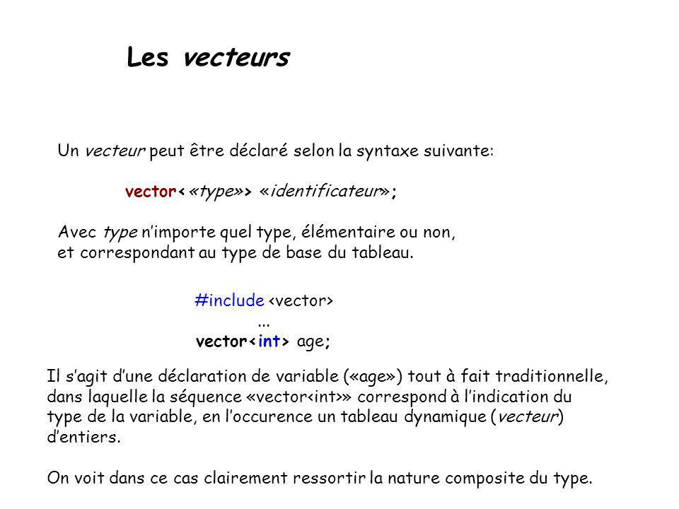 Les vecteurs Un vecteur peut être déclaré selon la syntaxe suivante: vector «identificateur»; Avec type nimporte quel type, élémentaire ou non, et cor