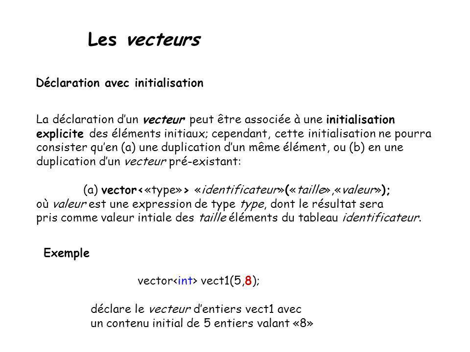 Les vecteurs Déclaration avec initialisation (b) vector «identificateur»(«id-vector»); où id-vector est un identificateur de vecteur de type de base type.