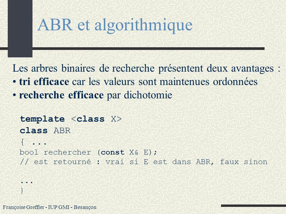 Françoise Greffier - IUP GMI - Besançon 3 types de parcours : infixés Gauche, Racine, Droite Droite, Racine, Gauche préfixé Racine, Gauche, Droite Rac