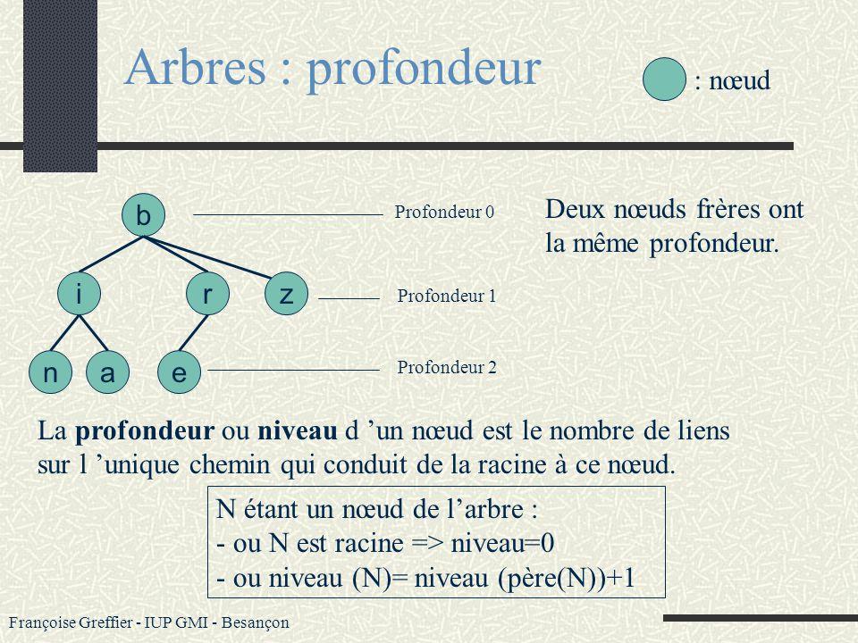 Françoise Greffier - IUP GMI - Besançon Arbres : définitions Un nœud sans fils est un nœud externe ou une feuille. Exemples : n,a,e b an ir e z : nœud