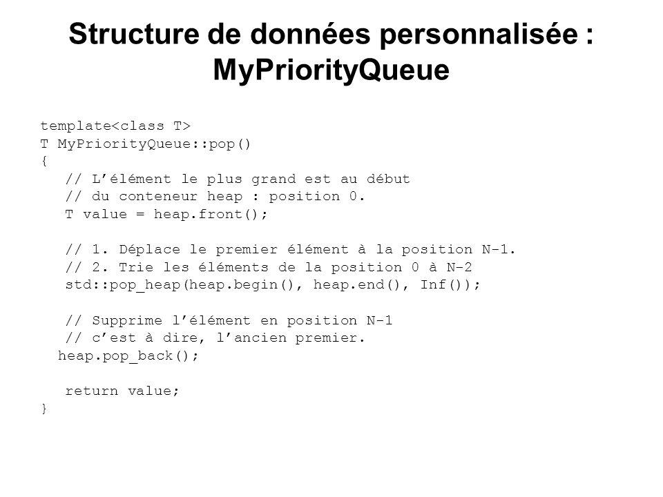 Structure de données personnalisée : MyPriorityQueue template T MyPriorityQueue::pop() { // Lélément le plus grand est au début // du conteneur heap :