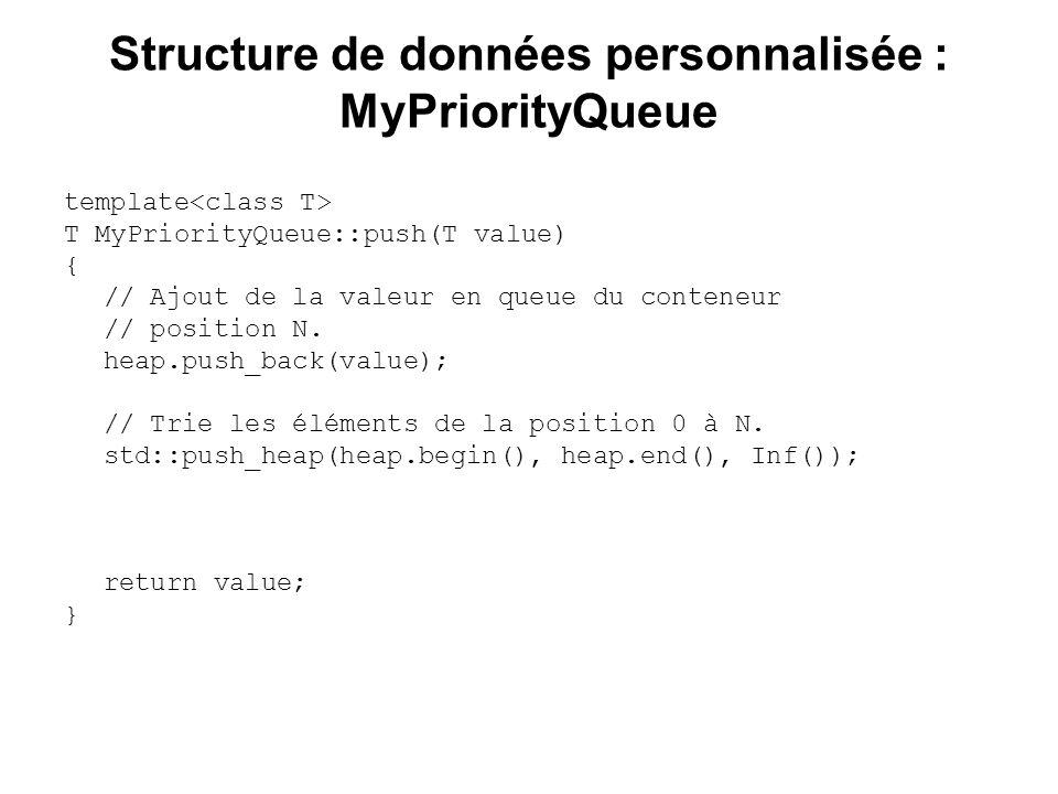 Structure de données personnalisée : MyPriorityQueue template T MyPriorityQueue::push(T value) { // Ajout de la valeur en queue du conteneur // positi