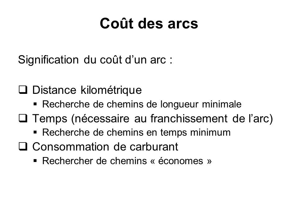 Coût des arcs Signification du coût dun arc : Distance kilométrique Recherche de chemins de longueur minimale Temps (nécessaire au franchissement de l