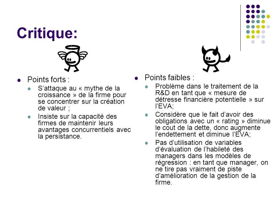 Critique: Points forts : Sattaque au « mythe de la croissance » de la firme pour se concentrer sur la création de valeur ; Insiste sur la capacité des firmes de maintenir leurs avantages concurrentiels avec la persistance.