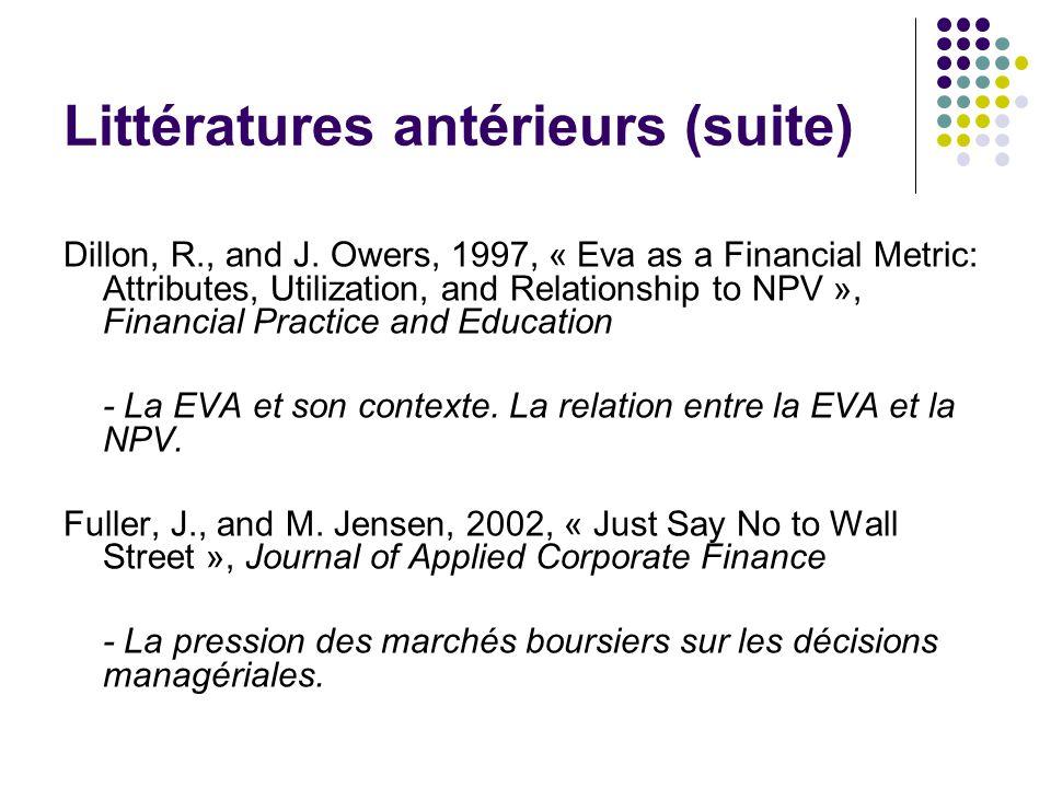 Littératures antérieurs (suite) Dillon, R., and J.